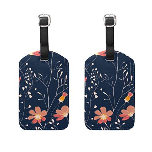 Juego de dos etiquetas de equipaje con diseño de plantas silvestres de goma azul para tarjetas de visita, de piel sintética, para viaje, etiqueta de identificación, hecha a...