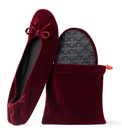 Top 10 best selling list for dark red velvet flat shoes