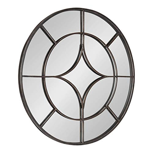 Kate and Laurel Angelis 30-Inch Round Industrial Modern Overlaid Metal Framed Wall -