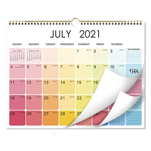 2021-2022 Calendar - 18 Monthly Wall Calendar with Thick Paper, 15' x 11.5', Jul 2021 - Dec 2022, Two-Wire Binding, Blank Blocks with Julian Dates, Hanging Loop