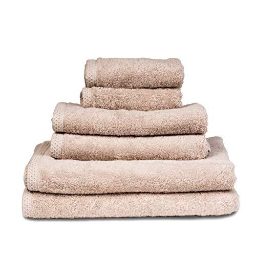 SLEEPZEN Set di 6 Asciugamani da Bagno - Pezzi Asciugamani in 100% Cotone Organico 500gr - Beige - Certificato GOTS - 2 Telo da Doccia Grande (70x140), 2 Asciugamani (50x80), 2 Salviette (30x30)