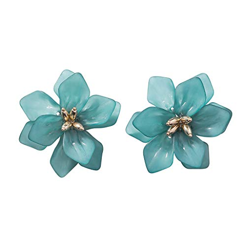 Judyd Summer 2020 Acrylic Large Camellia Floral Earrings Silver Plated Fashion Jewelry,blue Acrylic frosted large flower earrings,blue