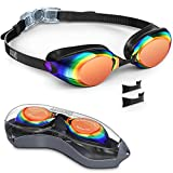 Aegend Swim Goggles, Nose Piece Replaceable Swimming Goggles with Flat Lens for Men Women Adult Youth Kids Children, Anti-Fog UV Protection Leak-Proof Triathlon Goggles Mirrored Clear
