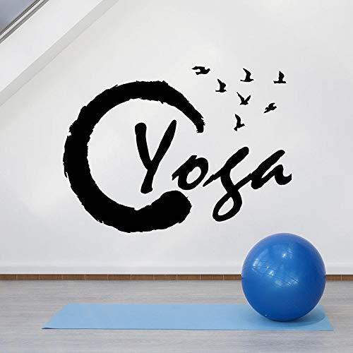 Art font muurstickers vliegende vogels logo deuren en ramen vinyl stickers yoga studio meditatie interieur behang kunst 63x85.5cm