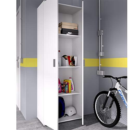 HABITMOBEL Armario Garaje Blanco Multiusos 2 Puertas. Medidas: Alto 190cm. Ancho 61cm. Fondo 35cm.