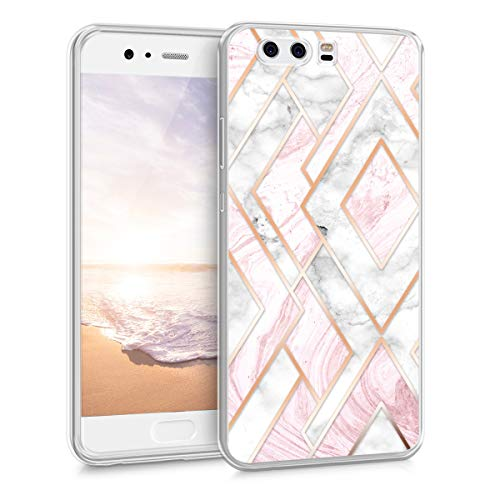 kwmobile Huawei P10 Hülle - Handyhülle für Huawei P10 - Handy Case in Glory Mix Marmor Design Rosegold Weiß Altrosa