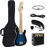 Best Choice Products 30in Kids Electric Guitar Beginner Starter Kit w/ 5W Amplifier, Strap, Case, Strings, Picks - Blue