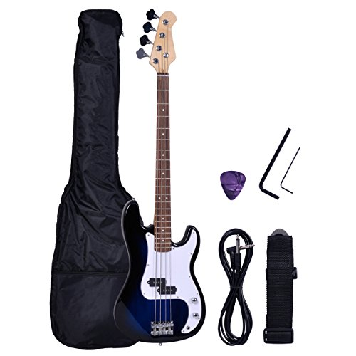Polar Aurora NEW Full Size 4 Strings Blue Electric Bass Guitar+ Amp Cord+ Gigbag