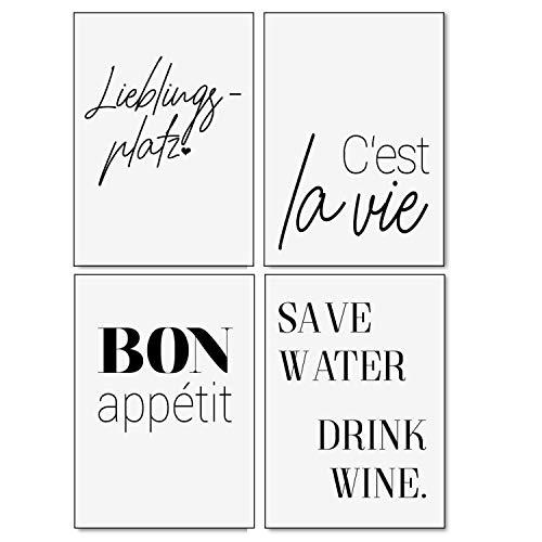 Typo Poster-Set I dv_322 I DIN A4 I 4 Print Plakate mit Sprüchen: Lieblingsplatz cest la vie Bon appetit Save Water I Statement modern schwarz weiß