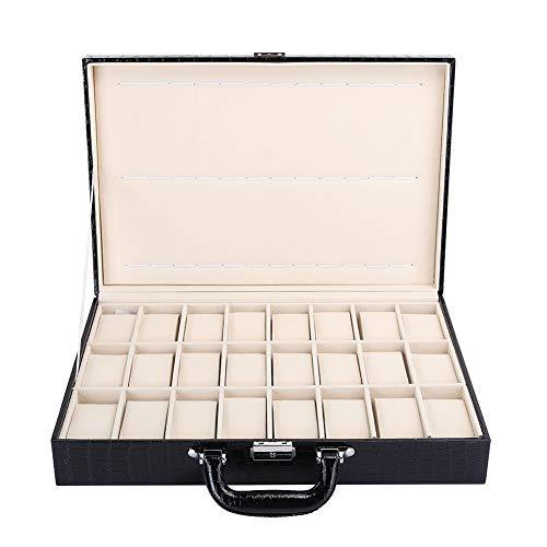 24グリッドウォッチストレージスーツケース、ウォッチオーガナイザージュエリーディスプレイケース、PUレザーラージスペースウォッチストレージケースキー付き、ブラック