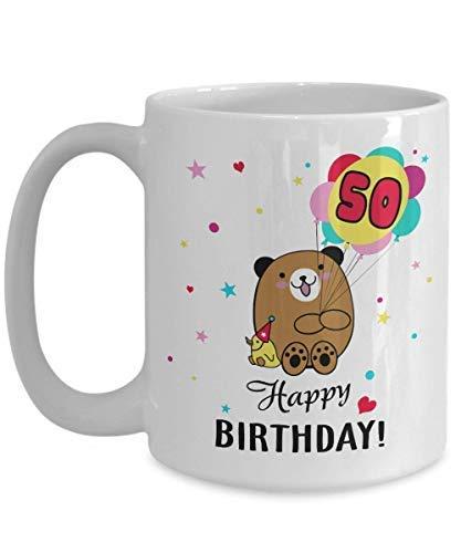 50 años de edad 50.º regalo de cumpleaños feliz para hombres, mujeres, niños, lindo oso patito, taza de té Kawaii, taza de café, taza divertida, regalo de té para padre '
