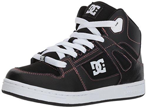 DC Girl's Pure HIGH-TOP Skate Shoe, Black/Pink, 5 M M US Big Kid