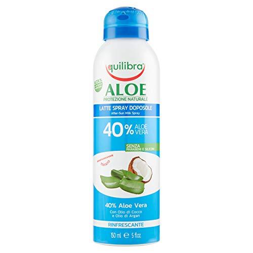 Equilibra Solari, Aloe Latte Spray Doposole, Latte Spray a Base di Aloe Vera, Olio di Cocco, Olio di Argan e Vitamina E, Bisabololo, con Azione Lenitiva, Rinfrescante, Idratante e Nutriente, 150 ml