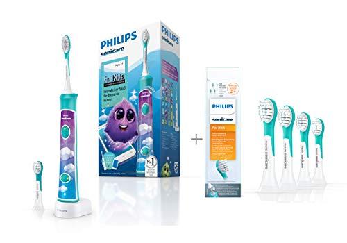 Philips Sonicare For Kids Elektrische Zahnbürste HX6322/04, mit Schalltechnologie, für Kinder, inkl. Aufsteckbürsten ab 4 Jahren