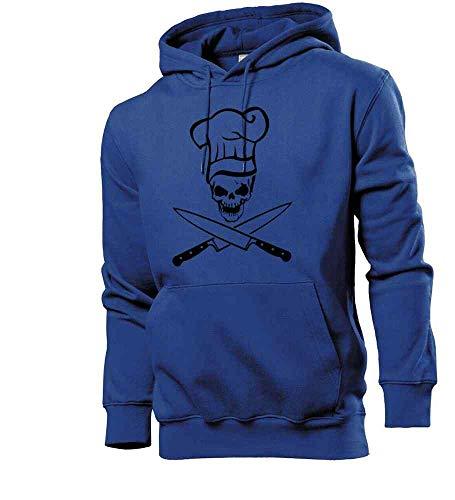 Generisch shirt84.de - Sudadera con capucha para hombre, diseño de calavera con gorro de cocinero y cuchillo azul real XXL