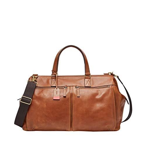 Fossil Men's Defender Leather Duffle Bag, Cognac