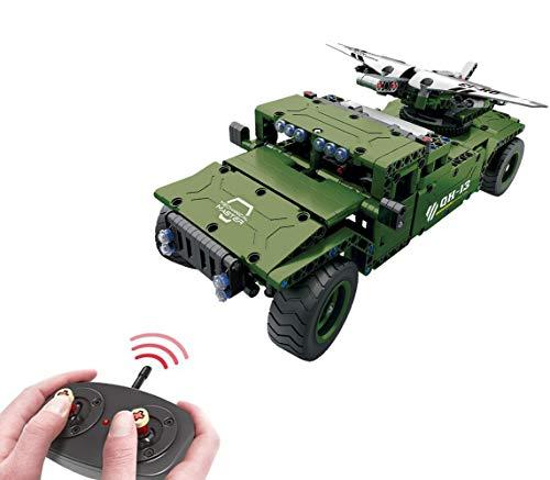Modbrix Bausteine 2,4 Ghz RC Auto Humvee mit Drohne, Konstruktionsspielzeug mit 506 Bauteilen, kompatibel mit L*go Technik