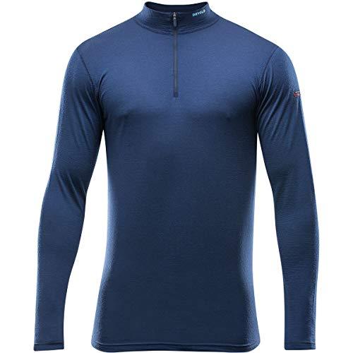 Devold 150 Ultralight Breeze T-shirt à manches longues et col zippé en laine mérinos pour homme, Bleu Mistral, xxl