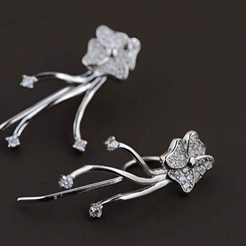 ESCYQ DamenOhrringeOhrsteckerOhrhängerTropfenOhrlinie,S 925 Silber Vergoldet Micro-Inlay Handwerk des Weißen Frauen Mode Ohrringe Fringe Besteck