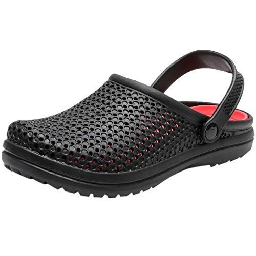 Dorical Sandalen/Strandschuhe Pantoletten Sommer Hausschuhe Wasserschuhe Badeschuhe Flach Aqua Slippers rutschfest Gartenschuhe Atmungsaktiv Beach Schuhe für Damen Herren(Z016 Schwarz,40 EU)
