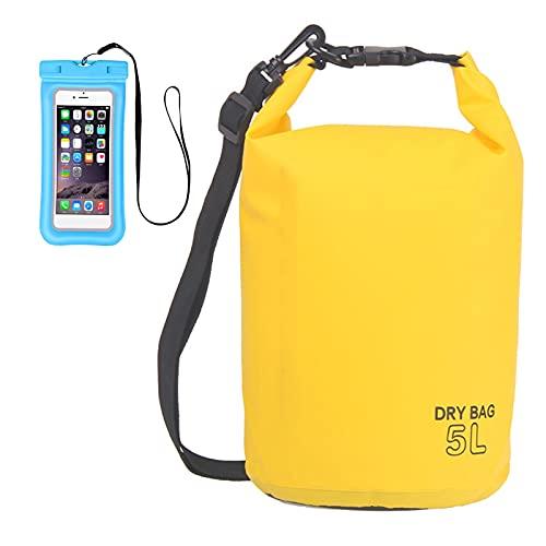 Zhgzhzwlf - Sacca impermeabile a compressione, 5 l, zaino asciutto con custodia impermeabile per telefono, costruzione rinforzata, kayak, pesca, camper, surf, rafting, giallo