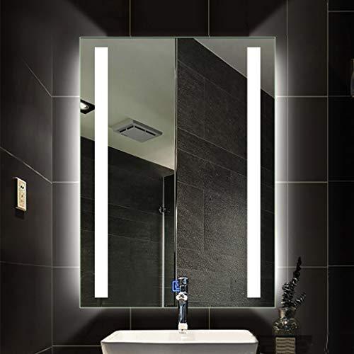 Badkamerspiegel met lampen, verlichte badkamerspiegel met LED, rechthoek zonder frame, wandmontage, cosmeticaspiegel 60 x 80 cm/70 x 90 cm