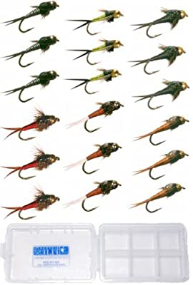 Copper John Fly Fishing Nymph Trout Collection Assortment - 18 Flies + Fly Box