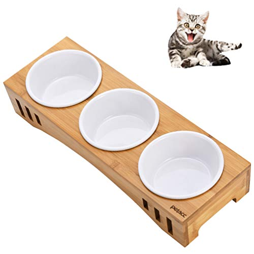 petacc Elevated Dog Cat Bowls Raised Pet Bowls Cat Feeders, Food and Water Bowls with Bamboo Holder and 3 Melamine Bowls for Cats and Small Dogs