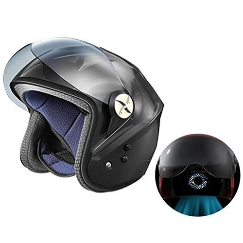 Casco de motociclista verano,Casco moto todo terreno Bluetooth 5.0 para hombres mujeres,ABS de una pieza,Ventilador de aire acondicionado inteligente de energía solar,No es necesario cargar,Black-M
