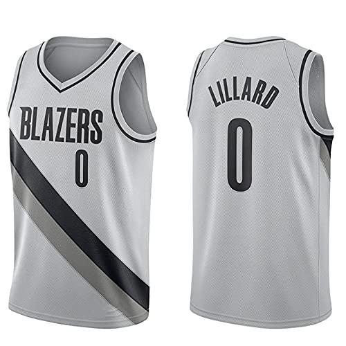 wsetrtg Edición de Bonificación Gris Portland Trail Blazers # 0 Damian Lillard Ropa Camisetas de Baloncesto para Hombres clásico Transpirable Chaleco de Secado rápido Confort Camiseta(Size:XL Col