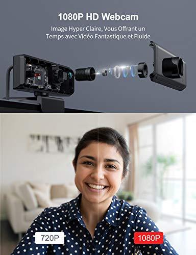 Wansview Webcam PC 1080P Full HD mit Mikrofon, Webcam USB 2.0 Plug & Play für Live-Streaming, Konferenzen, Ligne-Studien, Spiele