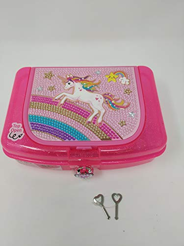 Hot Focus Art Box W/Compartments with Pad Locks and Keys – Unicorn Girls School Pencil Case Box Includes Neon Gel Pen, Notepad and Stickers