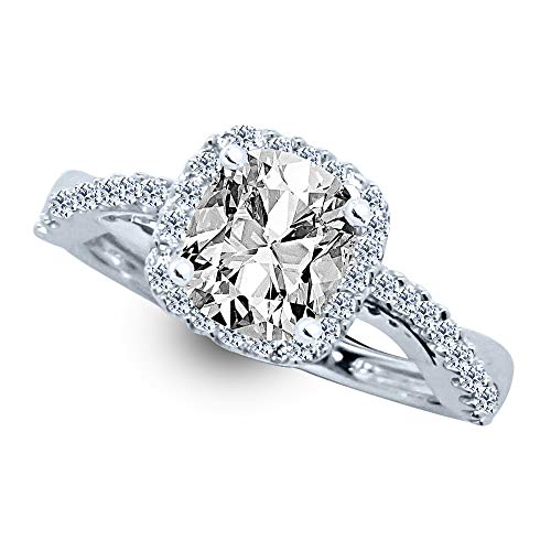 2.35 Ctw 14K White Gold Dainty Petite Twist Split Shank Halo GIA Certified Cushion Cut Diamond Engagement Ring (2 Ct Center G-H Color SI1-SI2 Clarity)