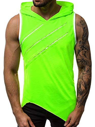 OZONEE Herren Tank Top Tanktop Kapuze Tankshirt Ärmellos Bodybuilding Shirt Unterhemd T-Shirt Tshirt Tee Muskelshirt Achselshirt Trägershirt Ärmellose Training O/1254X GRÜN-NEON L