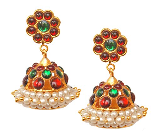 Pahal Traditional White Pearl Red Green Gold Jhumka Earrings South Indian Bollywood Kemp Party Wear Wedding Jewelry for Women