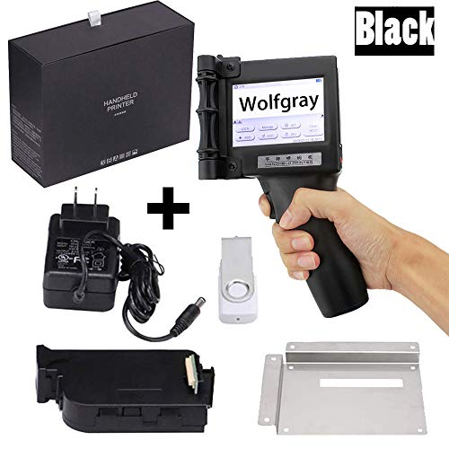 Wolfgray Tragbarer Intelligenter Handheld Tintenstrahldrucker, Tintenstrahl Codedrucker, Etikettendrucker, LED Bildschirm, Tintenstrahl Codiermaschine für Warenzeichen, Logo, Grafik, Datumscodierer