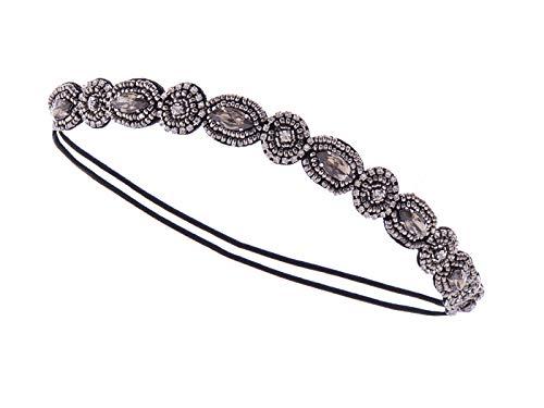 Alilang Womens Grey Elastic Flapper Rhinestone Metallic Beaded Hair Piece Headband