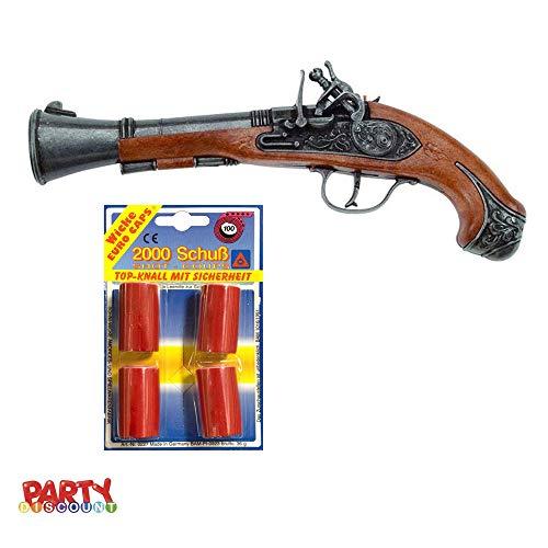 PARTY DISCOUNT ® Set Pistole Pirat Reality, Pistole + 2000 Schuss Munition