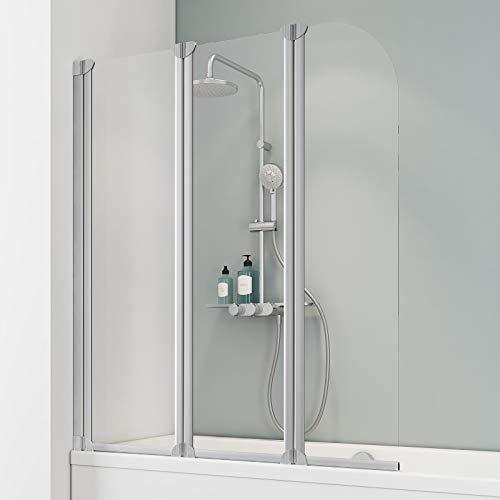 Schulte Badewannenfaltwand 3-teilig Komfort, 125 x 140 cm, 3 mm Sicherheitsglas (ESG) Klar hell, Alu-Natur, Duschabtrennung für Badewanne, Duschwand mit Teilrahmung D1654 01 50