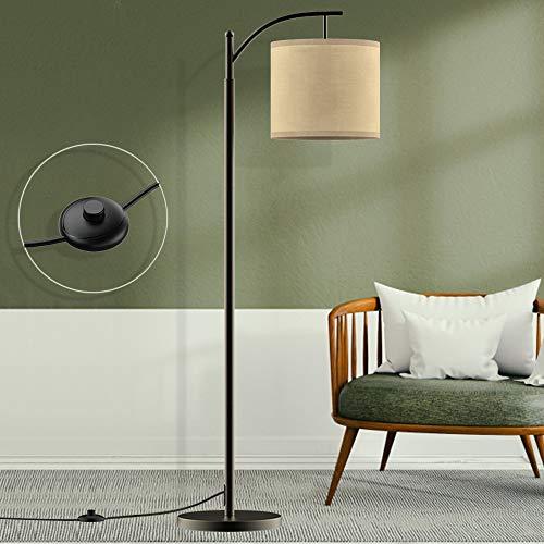 Depuley Lampadaire sur Pied Salon Moderne, Lampe à Pied de Chevet Chambre E27 avec Abat-jour Tissu Lin, Lampadaire Réglable Arc Design Classique, Haut 153 mm avec Ampoule LED pour Chambre, Bureau