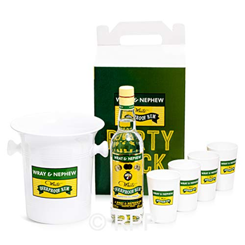 Wray and Nephew White Rum 70cl For Cocktails With 1 Ice Bucket & 4 10oz Cups In Gift/Carry Box