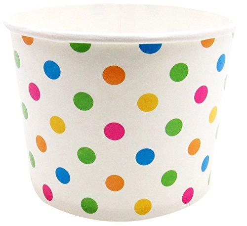 Perfecte Stix yogurtcup12-polka-50 papieren yoghurtbeker met multicolor polka dot print, 50 oz (50 stuks)