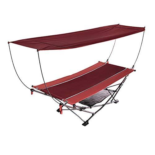 SHARESUN Opvouwbare ligstoel met standaard, luifel, UV-bestendig en sneldrogende draagbare hangmat, dragende 150kg, buiten, camping, escort, kantoor, kampeerbed, 235 * 101 * 67cm, rood