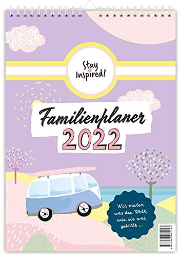 XXL Familienplaner 2022 | Wandkalender mit 5 Spalten für bis zu 5 Personen in DIN A3. Familienkalender Poster 2022 zum Aufhängen. Inklusive ... sowie einer Übersicht aller Schulferien