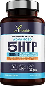 5HTP - 400mg Griffonia Seed Extract - 240 Vegan Capsules with Added L-Tryptophan and Chamomile - 8 Months Supply of High Strength 5-HTP Complex - Made in The UK by YrHealth