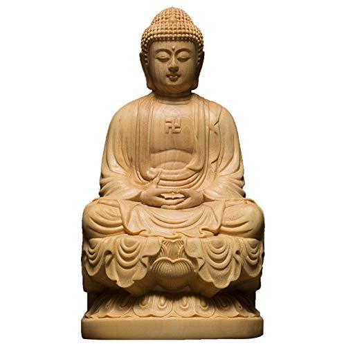 TPCYAN Wood Bouddha Statue, 9.5/13CM Wooden Carving Buddha, Shakyamuni Craft Bodhisattva Sculpture, for Home Decor (Size : 13cm)