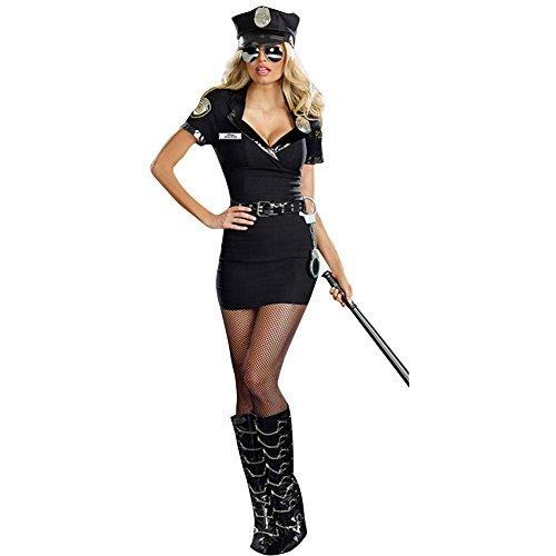 dPois Damen Sexy Polizei Kostüm 5 Pcs Polizistin Uniform Kostüm Frauen Clubwear Nachtclub Kostüm für Cosplay Karneval Halloween Fasching Party Schwarz One_Size