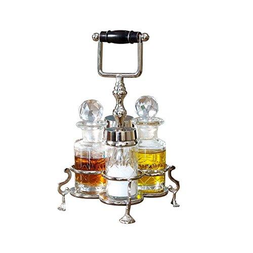 Loberon Menage Fayetteville, Messing/Glas, H/Ø ca. 22/14 cm, klar/silber