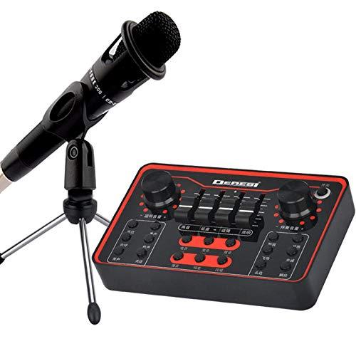 Funbox Microfoni per Pc USB Microfono Computer Cellulare Scheda Audio Live Set di Apparecchi di Cambio Voce K Canzone Gridare Grano Registrazione Canzone Microfono A Condensatore con Staffa
