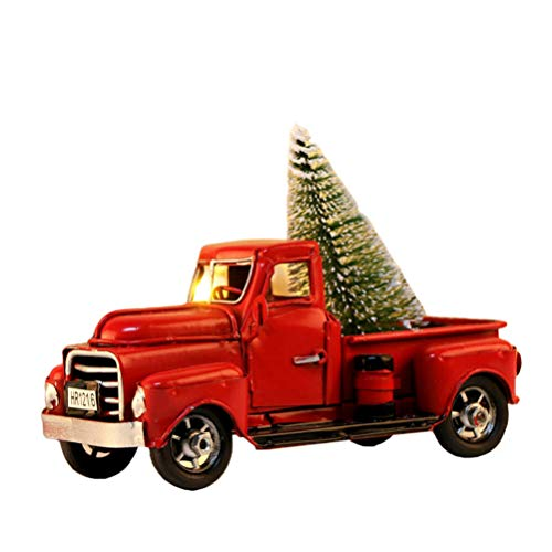 NUOBESTY Christmas Truck Red Model Vintage Metal Car Figurine Collectible Toy With Mini Christmas Tree For Table Top Ornament Decoration